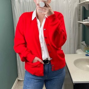 Vintage Red Large Button Down Crewneck Cardigan